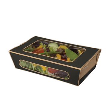 Snack Box Tuck-Top Window Salad Pack, Medium Slate Grey