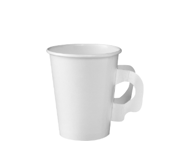 Single Wall Paper Takeaway Coffee Cups with Handles (White 8oz)
