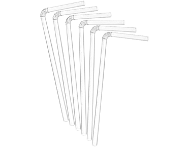 White Flexi Drinking Straws