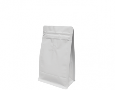 250g Box Bottom Coffee Bag | Resealable Zipper | Quad Seal | Matte White
