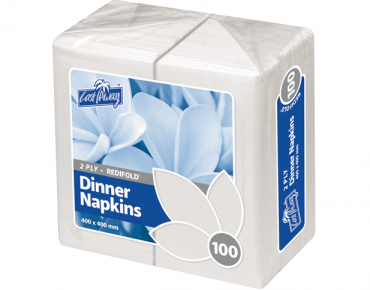 Premium 2-Ply Dinner Serviettes, RediFold® (White)