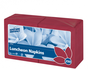 Premium 1-Ply Luncheon Paper Serviettes (Quarter Fold Wine Red)
