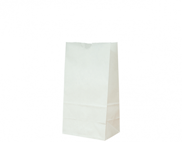 Takeaway White Paper Bags (Size #4 Block Bottom)