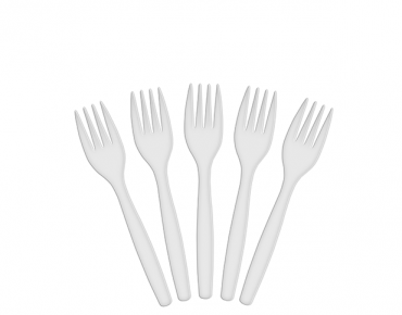 Costwise® Disposable Plastic Forks, White